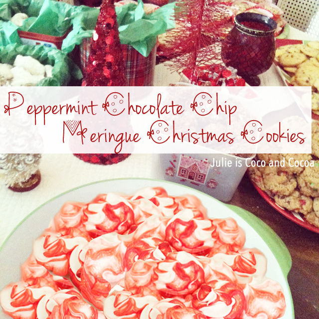 peppermint chocolate chip meringue christmas cookies