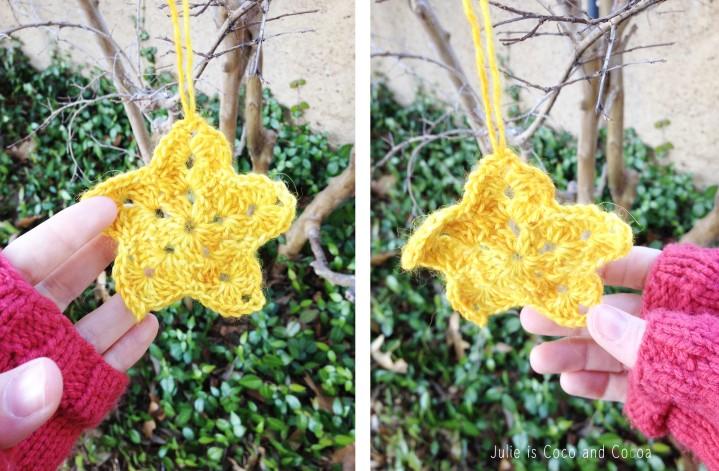 christmas star yarn bomb