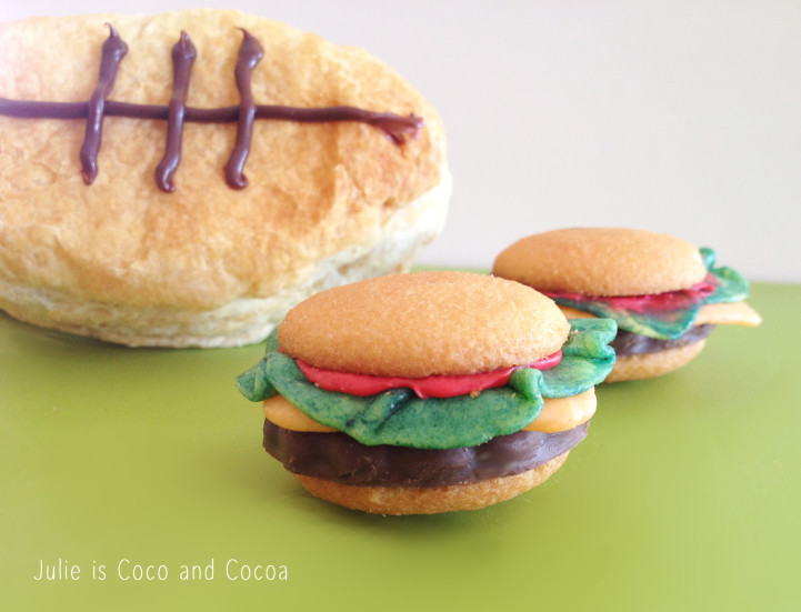 big game football pastry hamburger