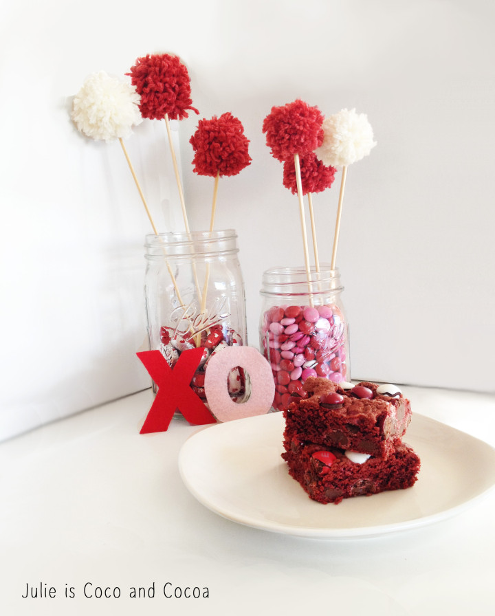 m&m red velvet love cake box cookie bars and mason jar decorations