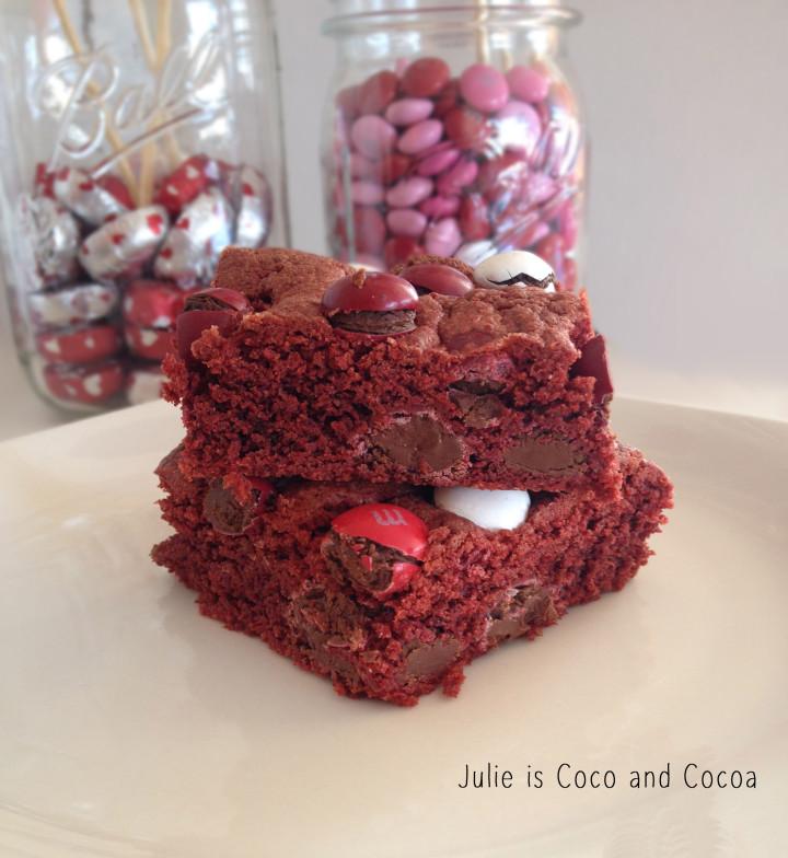 m&m red velvet love cake box cookie bars