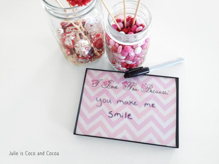 valentine i love you because mason jar smile
