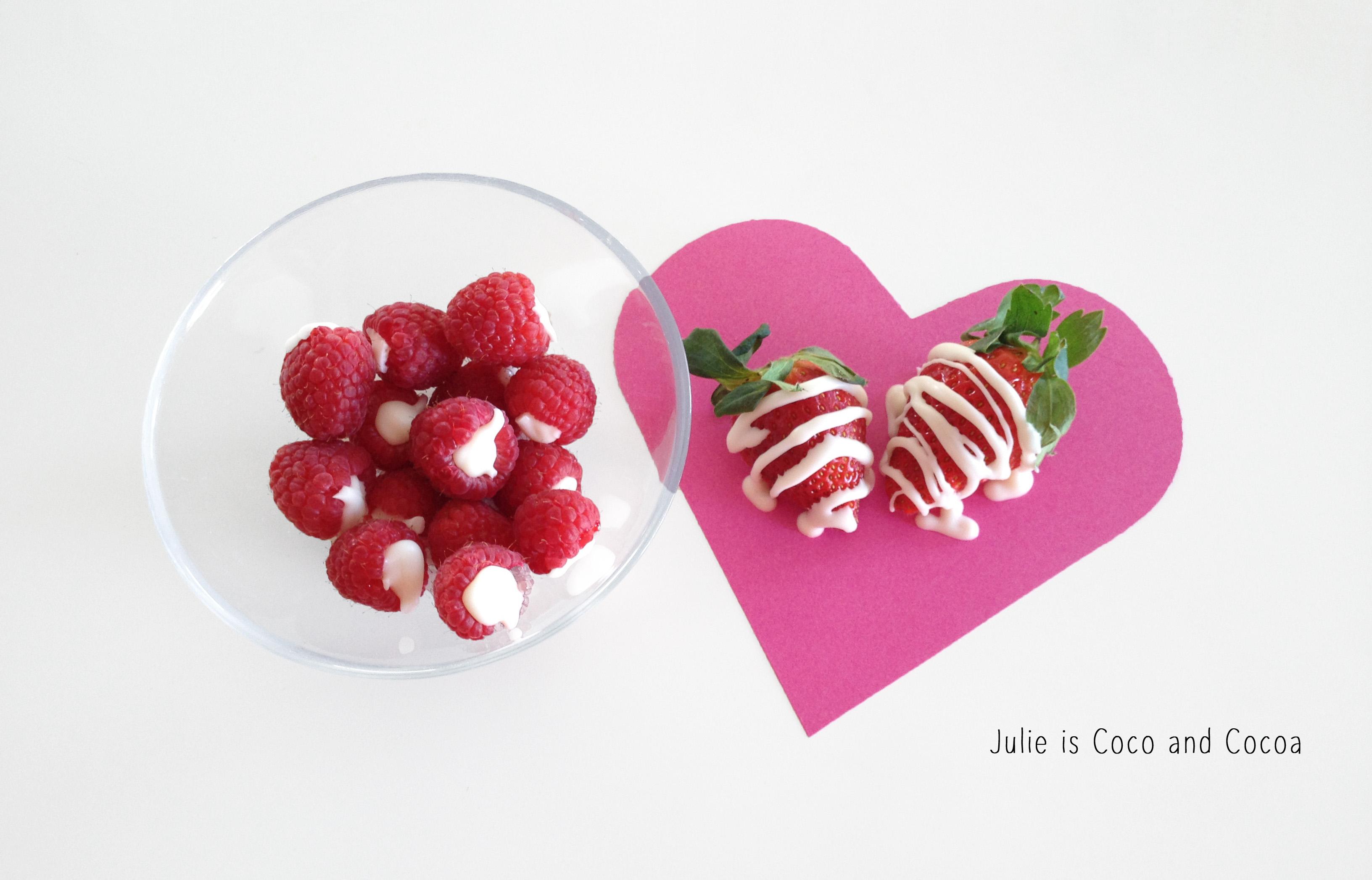 red raspberries and strawberries
