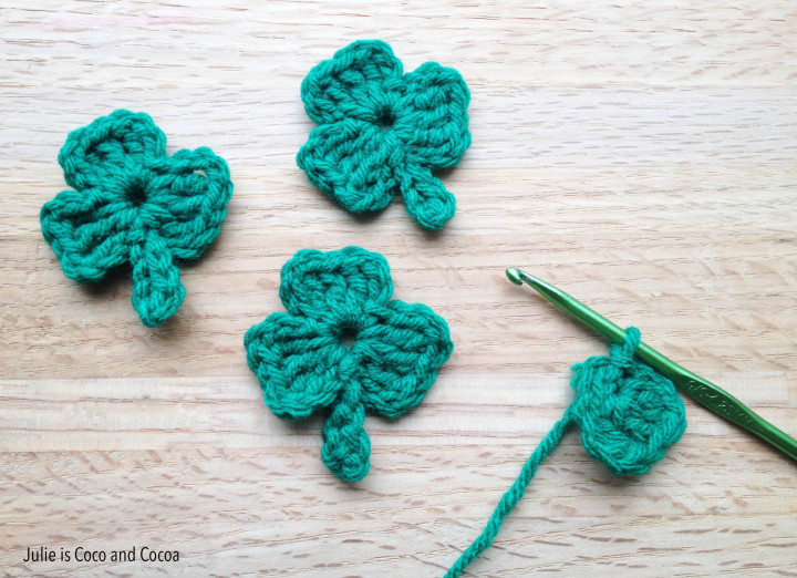 lucky yarn bomb crochet shamrocks