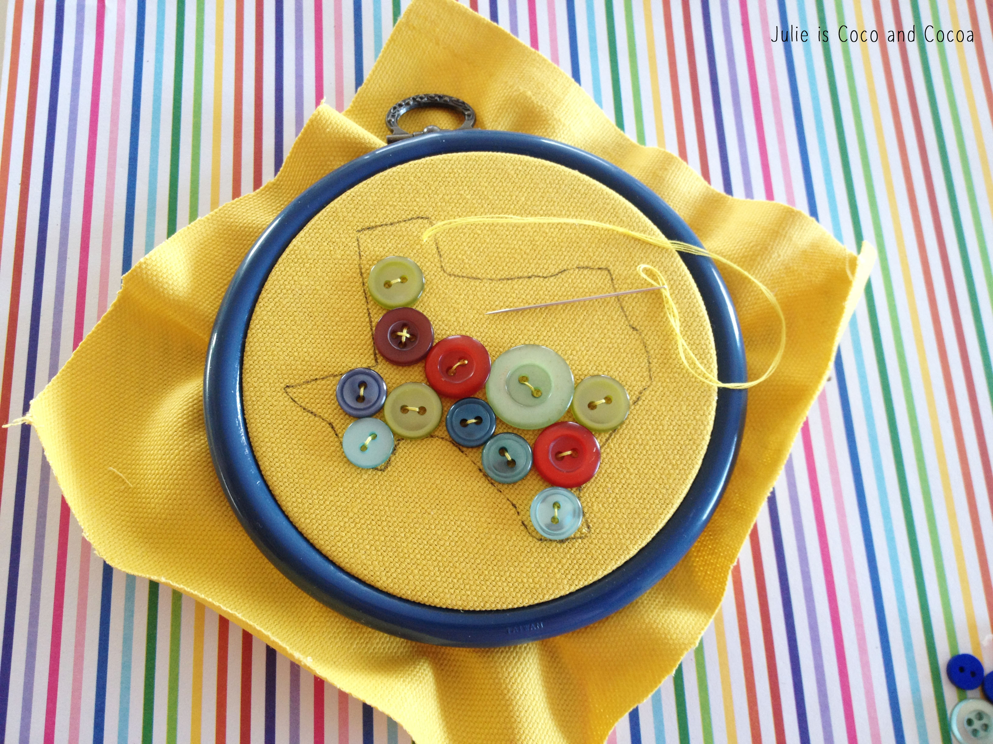 texas rainbow button embroidery stitching