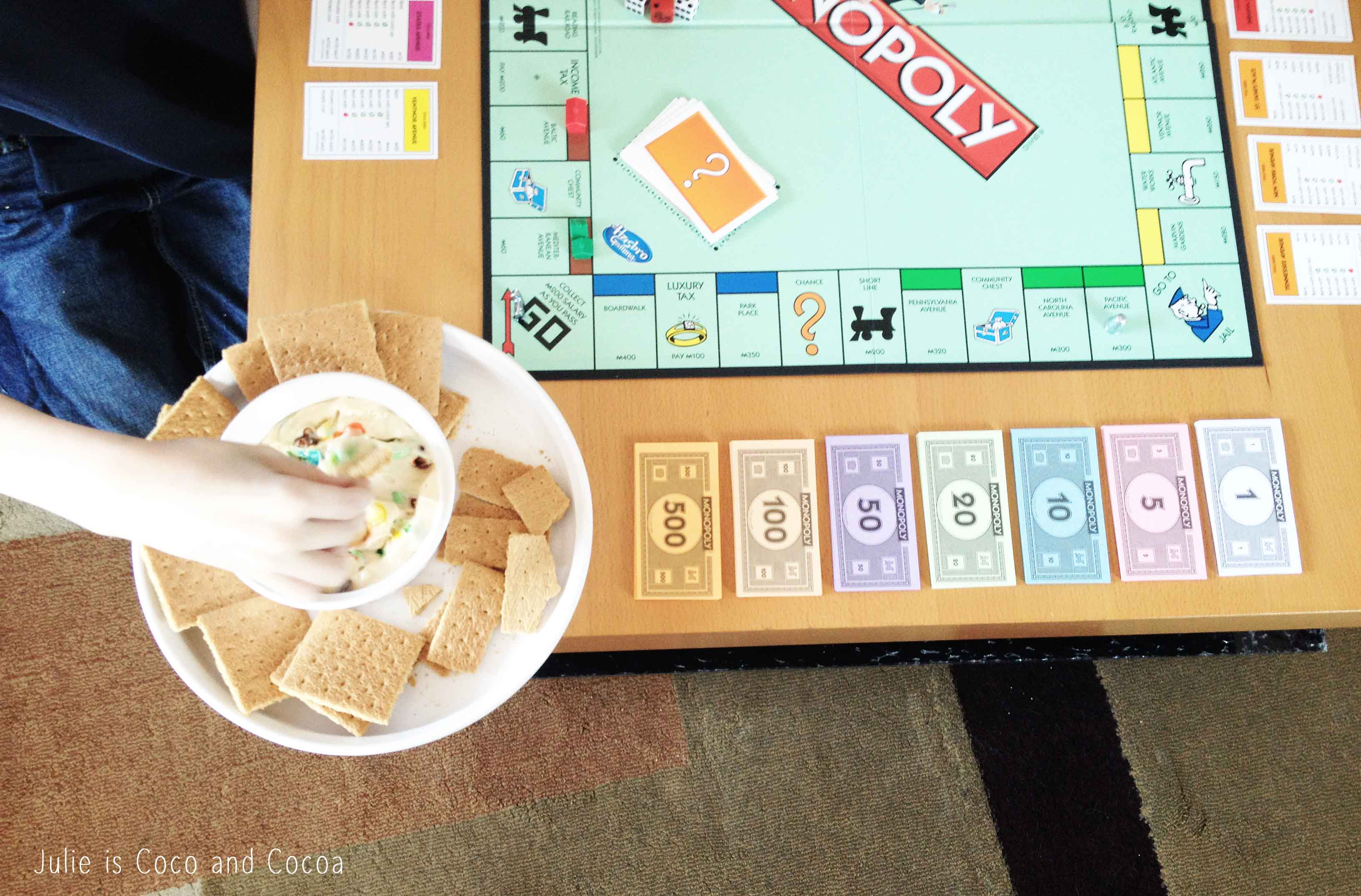 game night monopoly cookie dough dip