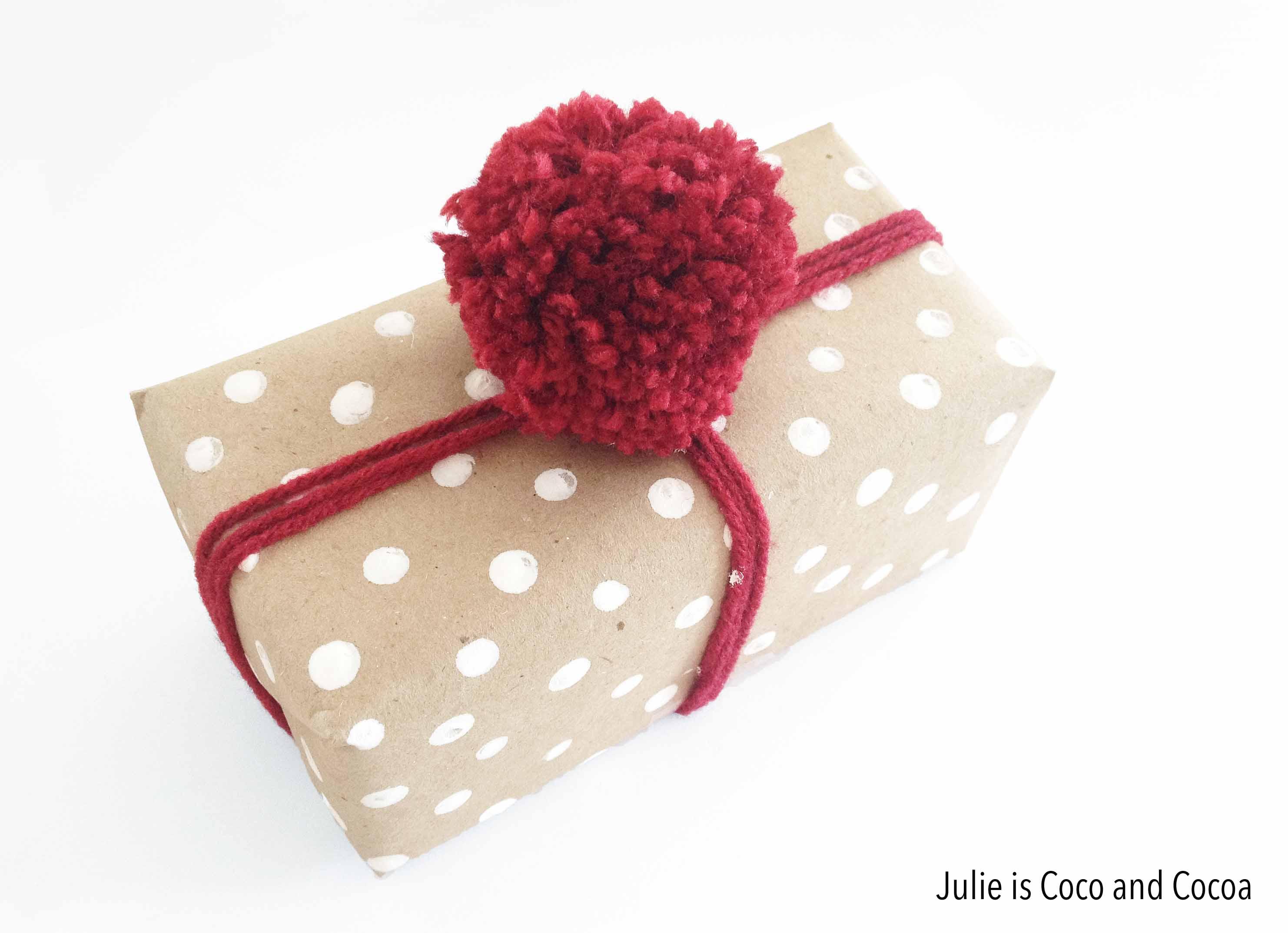 love2love white polka dot wrapped pom