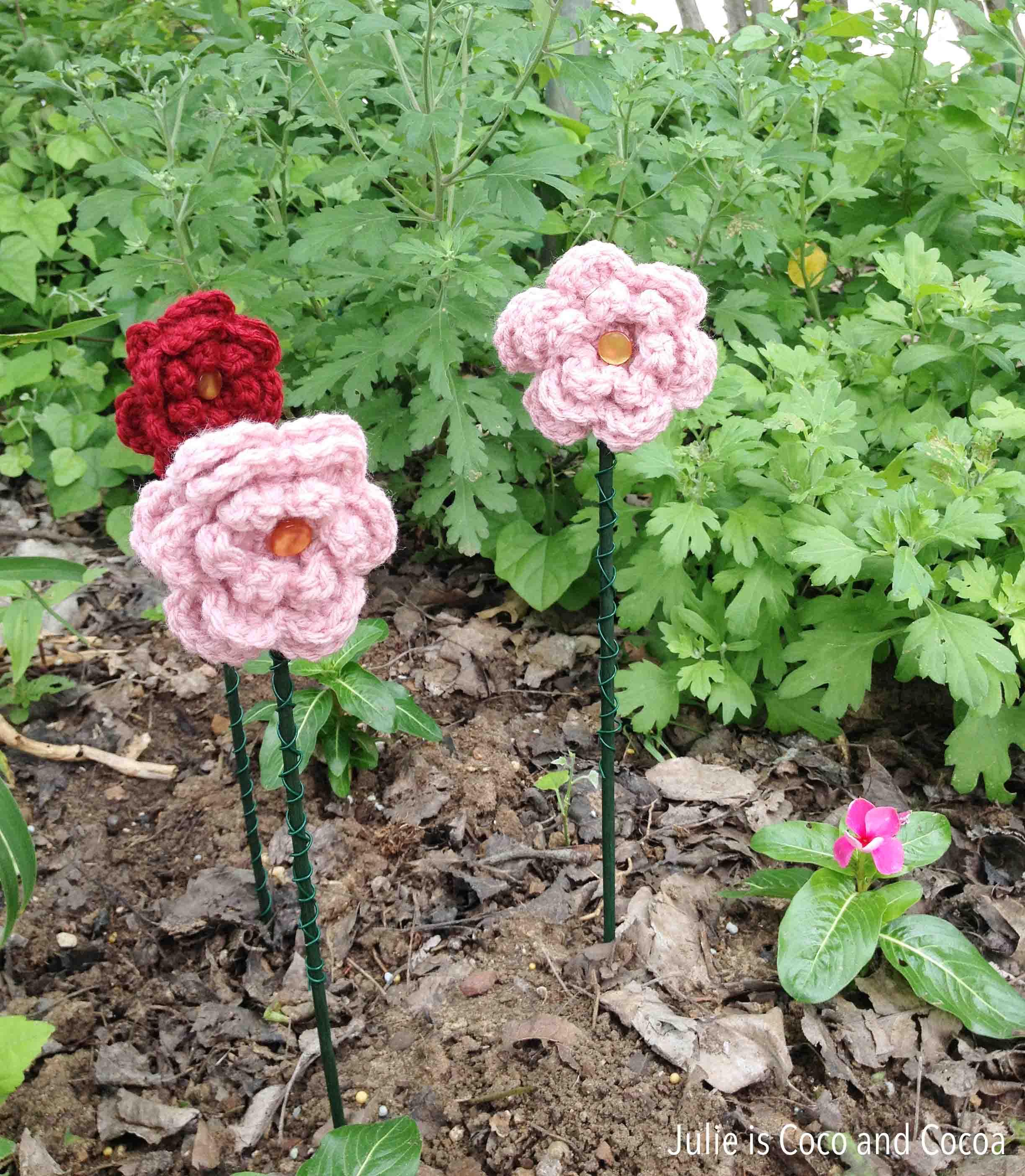 mothers day yarn bomb grandma flower bed