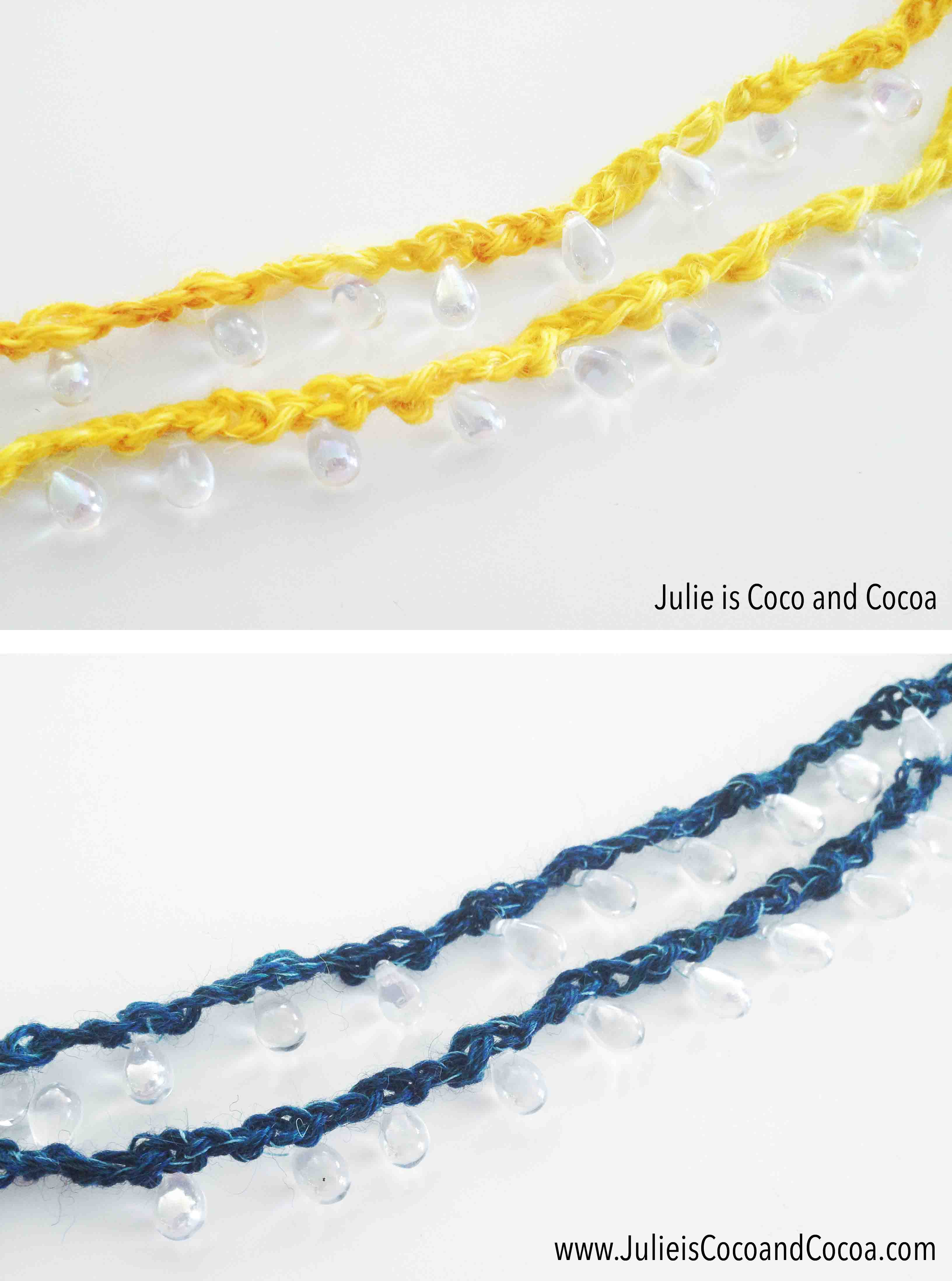 crochet bead necklace yellow and blue