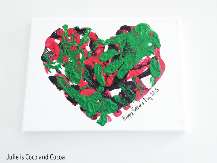 fathers day heart canvas happy fathers day.  This Handprint Heart Canvas is by Julie Measures