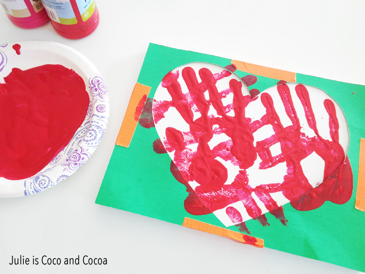 fathers day heart canvas red handprint
