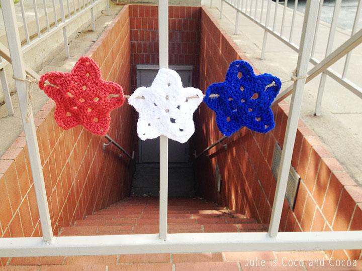 patriotic crochet star yarn bomb stairs