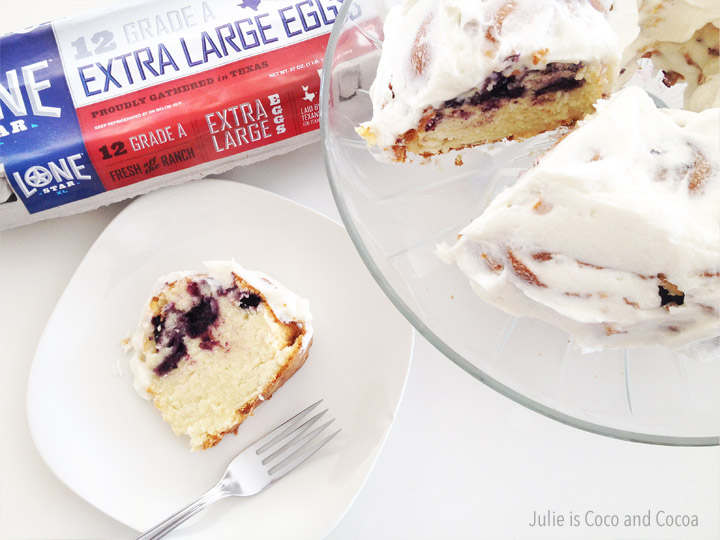 Lemon Blueberry Pound Cake, made with Lonestar Eggs