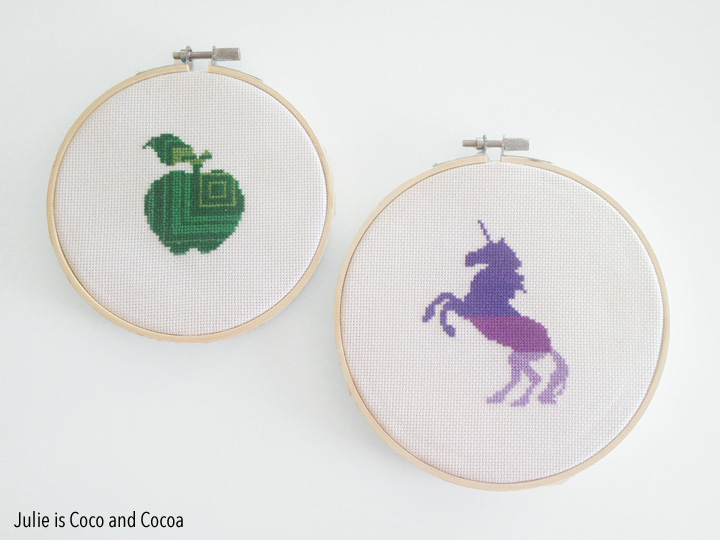 Counted Cross-Stitch Unicorn and Counted Cross-Stich Apple {Free Ampersand Pattern}