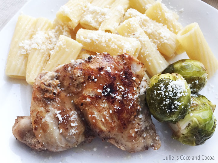 $10 dinner challenge Balsamic Chicken Thighs with Roasted Brussels Sprouts and Parmesan Rigatoni