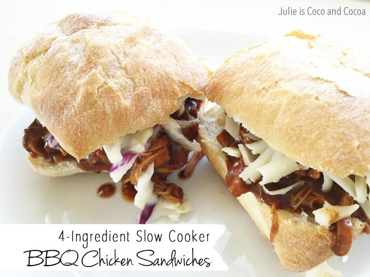 4 Ingredient Slow Cooker BBQ Chicken Sandwiches