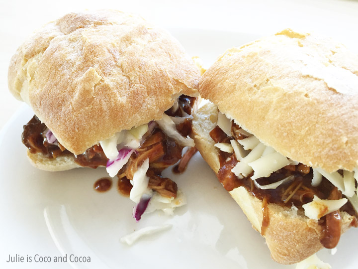 4 Ingredient Slow Cooker BBQ Chicken Sandwiches