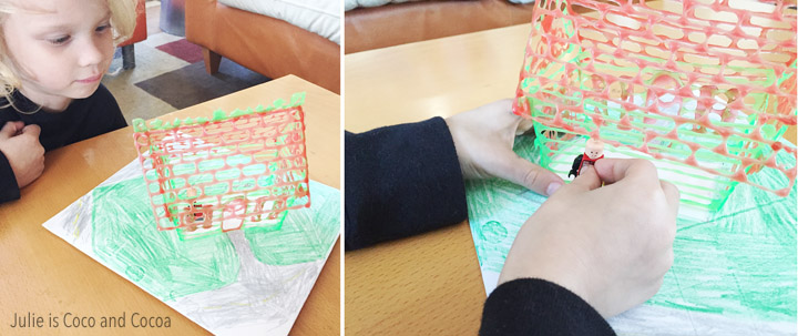A 3D pen art Christmas House! Let the kids get in on the Christmas decorating by having them create their very own 3D Christmas house.