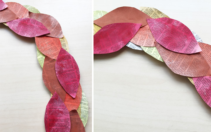 Photo 4 - book page wreath leaves gluing