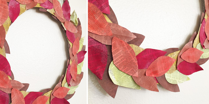 Photo 5 - book page wreath leaves fall colors