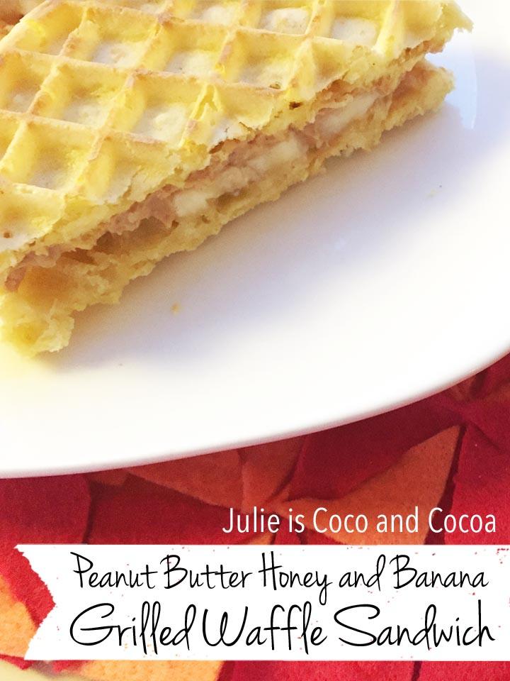 Peanut Butter Banana and Honey Grilled Waffle Sandwich served on a DIY modular felt placemat