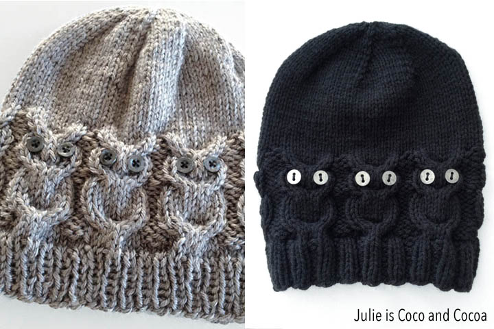 461268f400f Owl Hat Free Knit Pattern from Julie is Coco and Cocoa