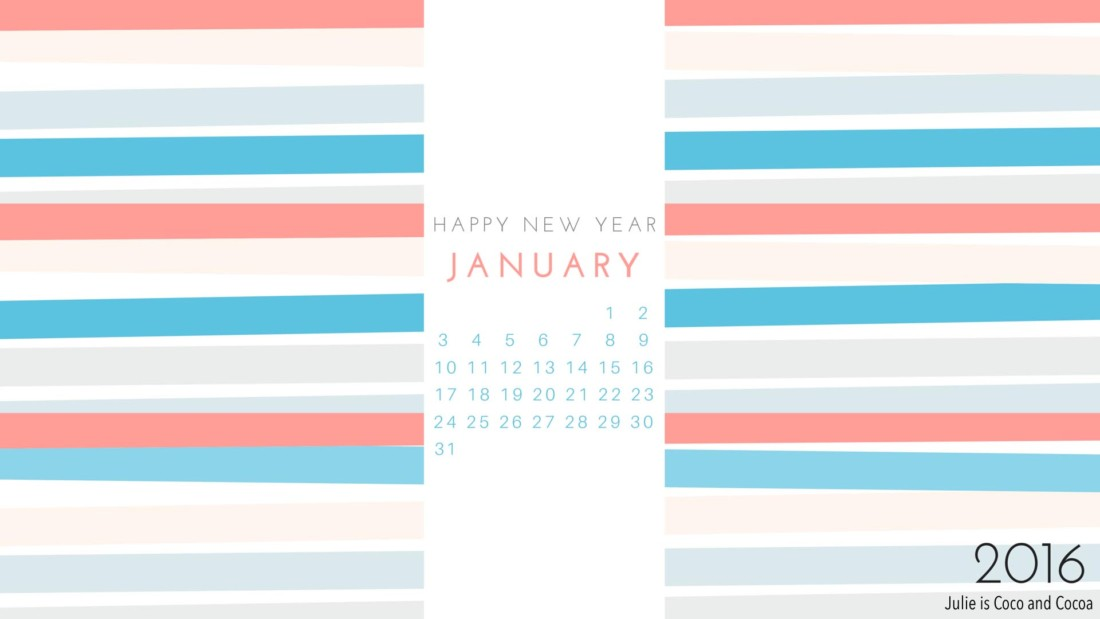 January 2016 Desktop Calendar Wallpaper