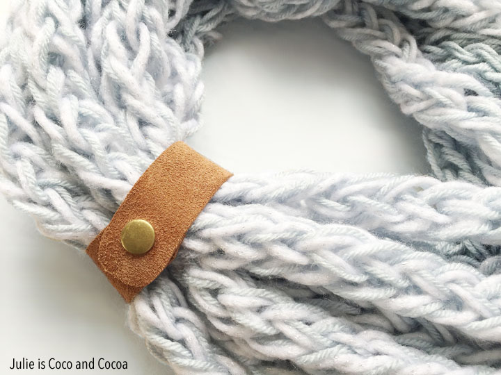 One Hour Finger Knit Infinity Scarf with a Leather Cuff