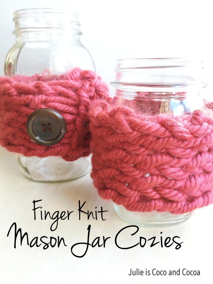 finger knit mason jar cozies