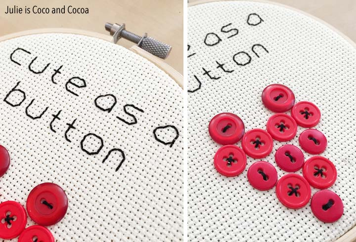 'Cute as a Button' Embroidered Valentines