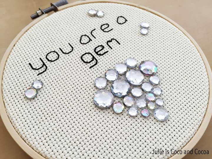 'You are a gem' Embroidered Valentines