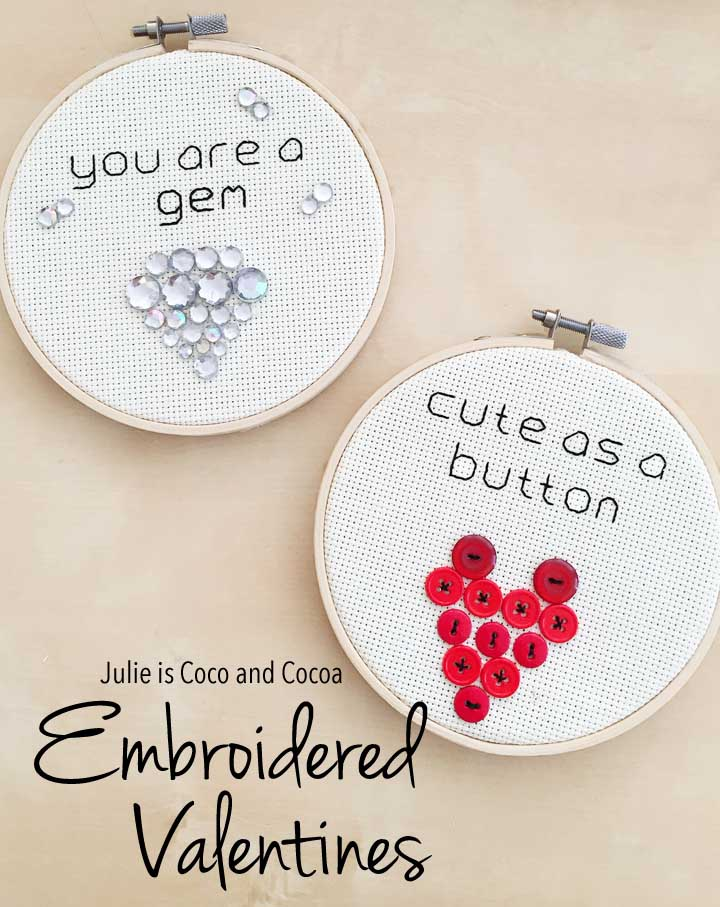 Embroidered Valentines 'You are a Gem' and 'Cute as a Button'