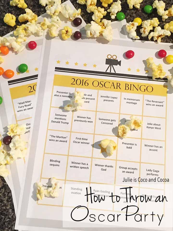Oscar Party Bingo Game