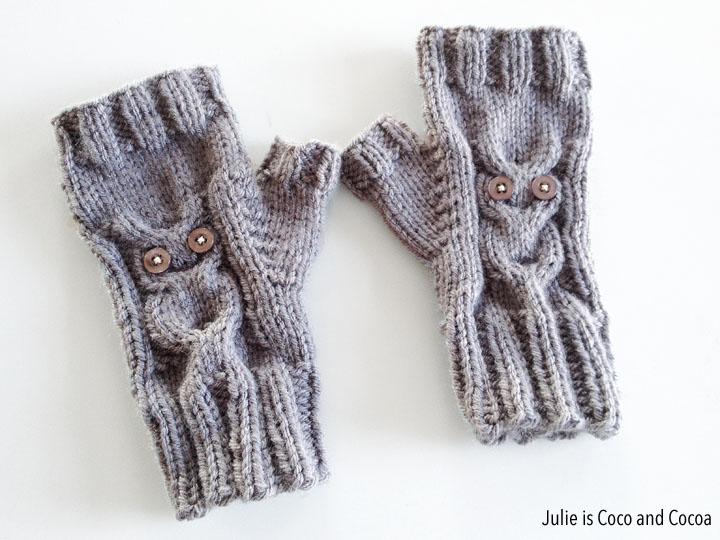 Owl Gloves Free Knit Pattern