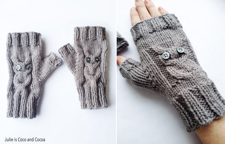 Owl Gloves Knit Pattern - Julie Measures