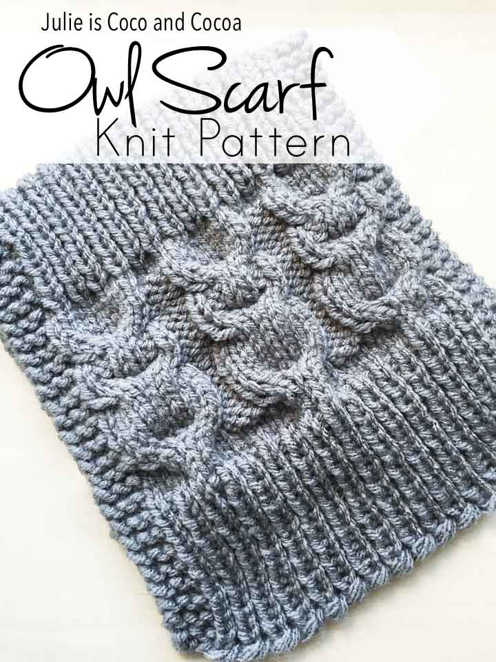 Owl Scarf Knit Pattern - Julie Measures