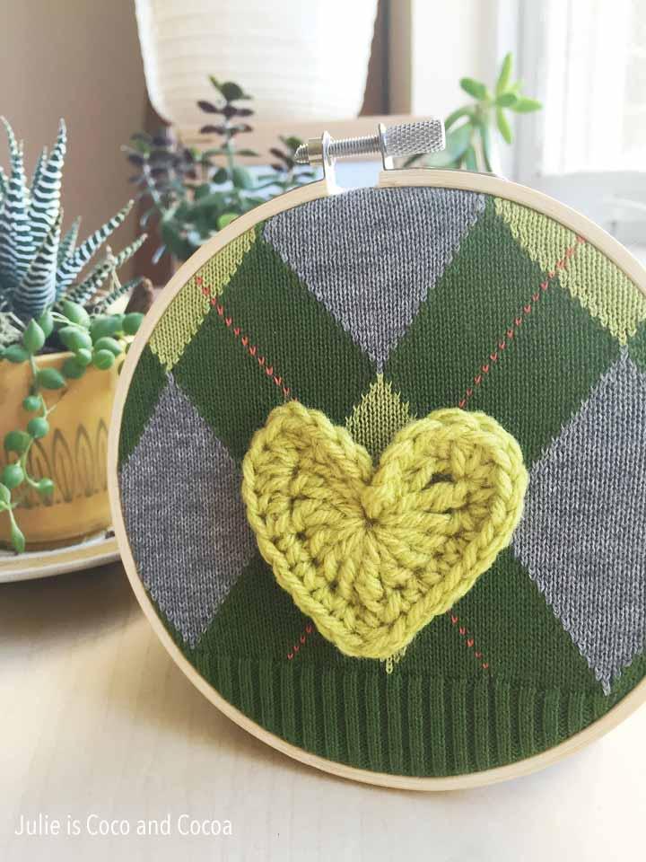 sweater embroidery hoop art green crochet heart