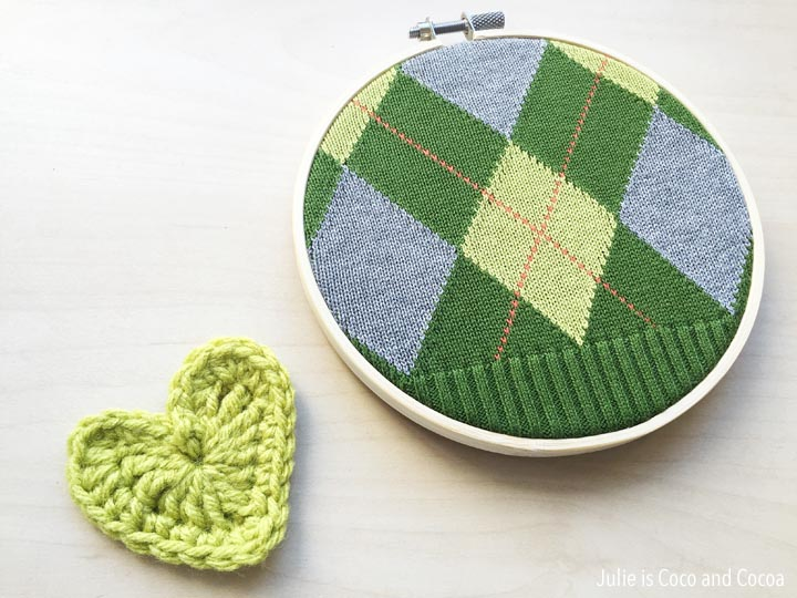 sweater embroidery hoop crochet heart