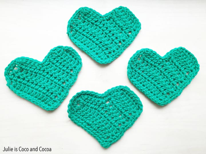 Turn green hearts into a Four-Leaf Clover! Crochet Pattern from Julie is Coco and Cocoa