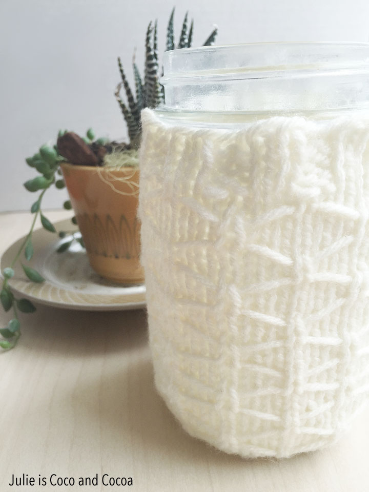 quilted lattice mason jar knit cozy