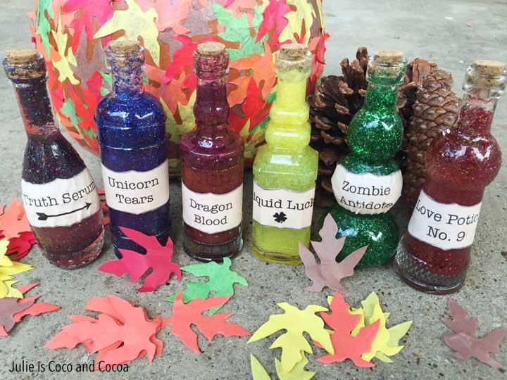 DIY Glitter Potion Bottles