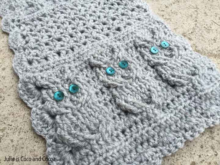 Crochet Owl Scarf - Julie Measures