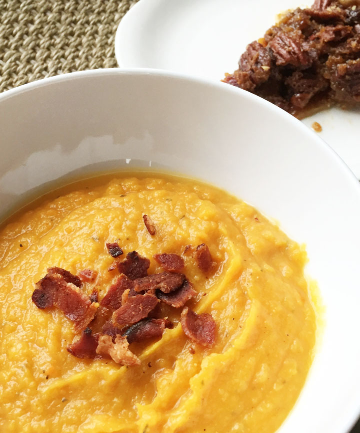 Roasted Butternut Squash Soup with Bacon and Bacon Pecan Pie