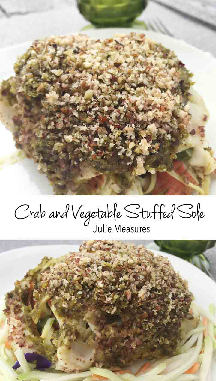 Crab and Vegetable Stuffed Sole Fish Filet Roll Ups
