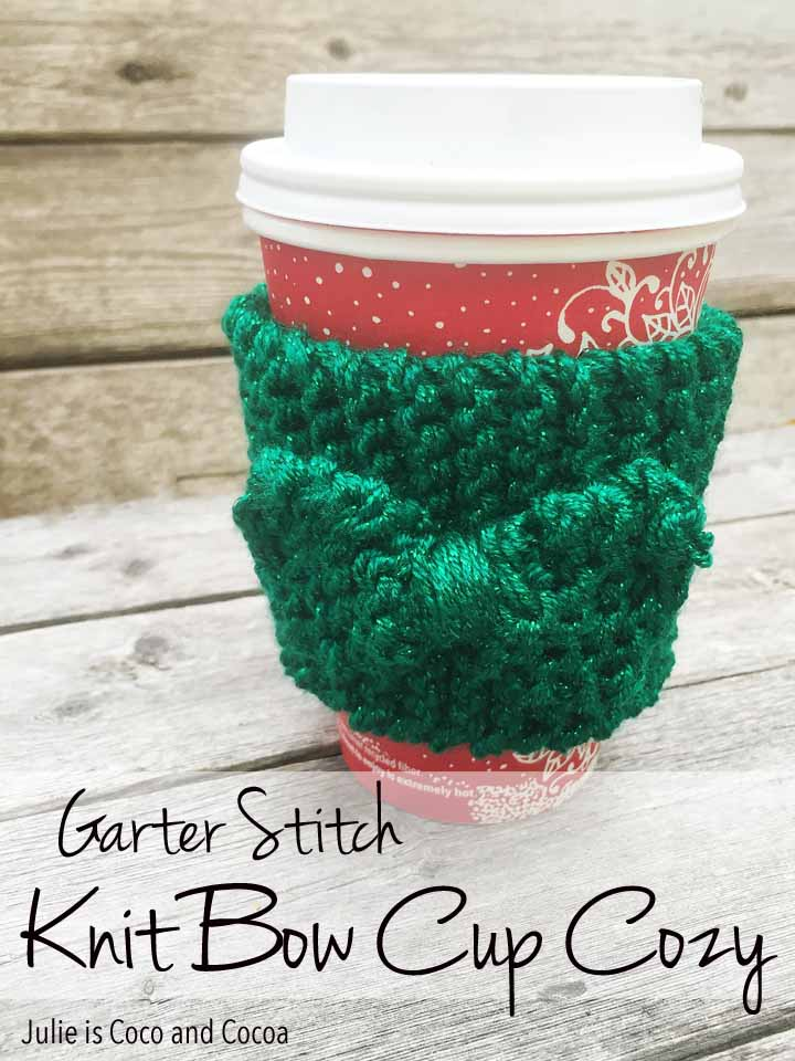 Garter Stitch Knit Bow Cup Cozy