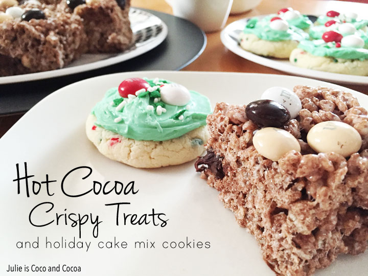 Hot Cocoa Crispy Treats and Holiday Cake Mix Cookies
