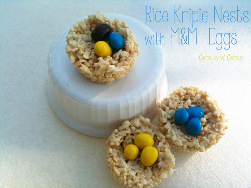 Rice Krispie Treat Nests with M&M Eggs