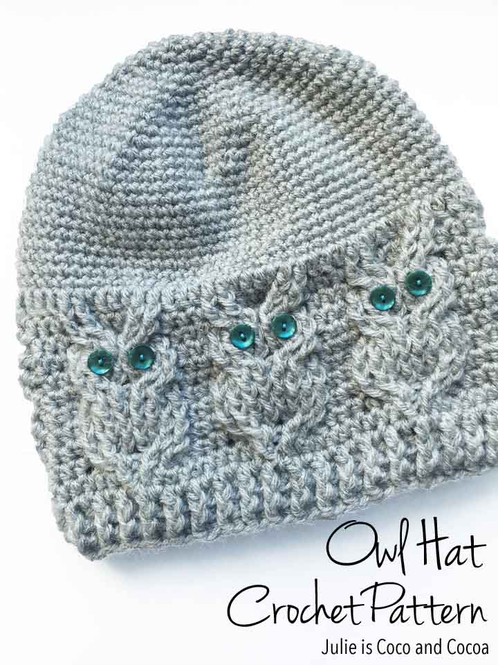 Facebook Crochet Patterns : Owl Hat Crochet Pattern - Julie Measures