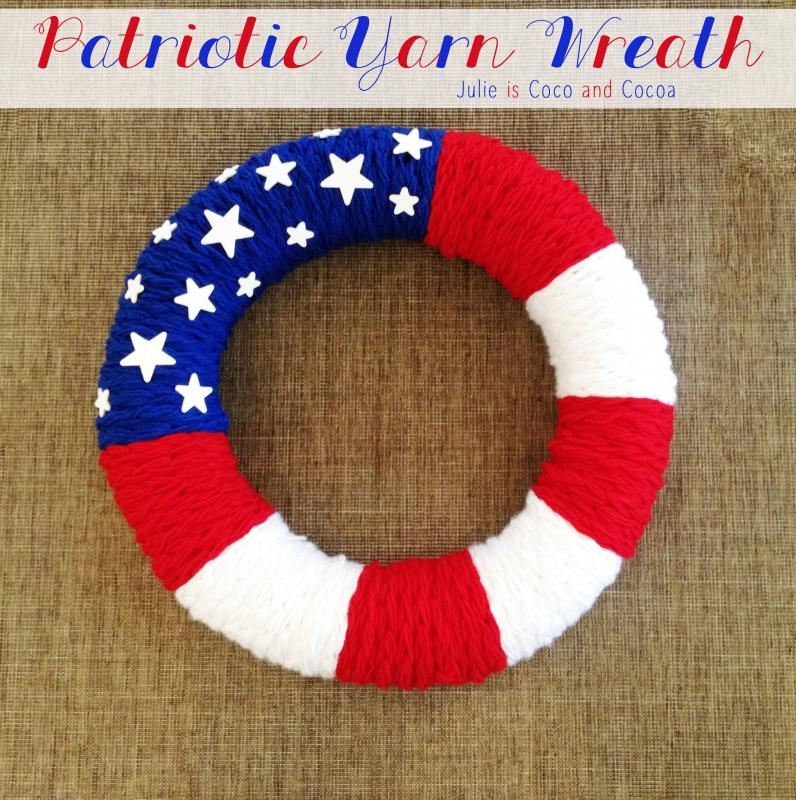 Patriotic Yarn Flag Wreath