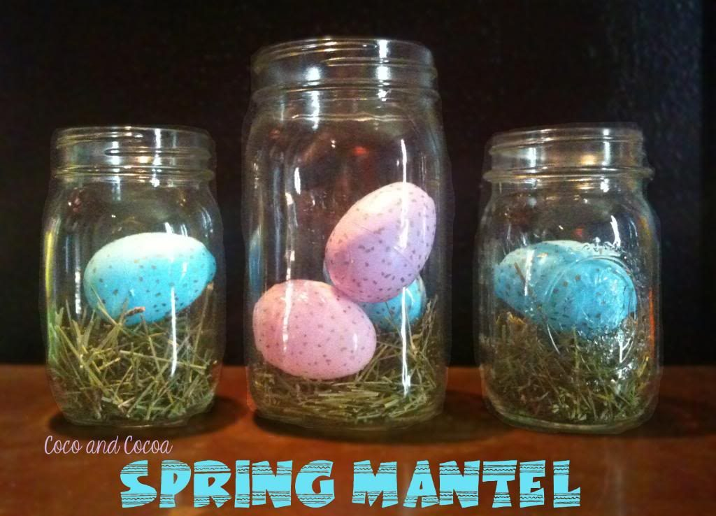 Speckled Plastic Easter Eggs and Faux Grass